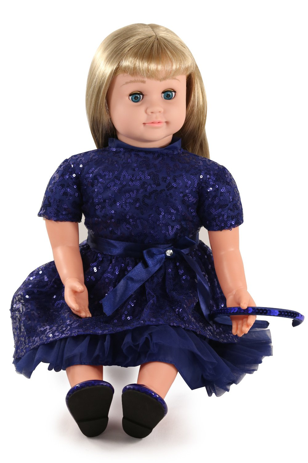 Ask Amy 22'' Talking Interactive Singing Storytelling Smart Educational Doll Blond Blue Sparkles Dress