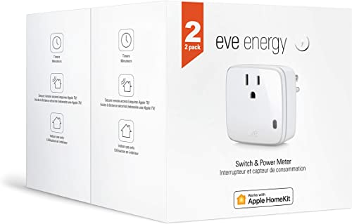 Eve Energy 2 Set – Smart Plug Power Meter, switch a connected device on and off, voice control, no bridge necessary, Bluetooth Low Energy Apple HomeKit