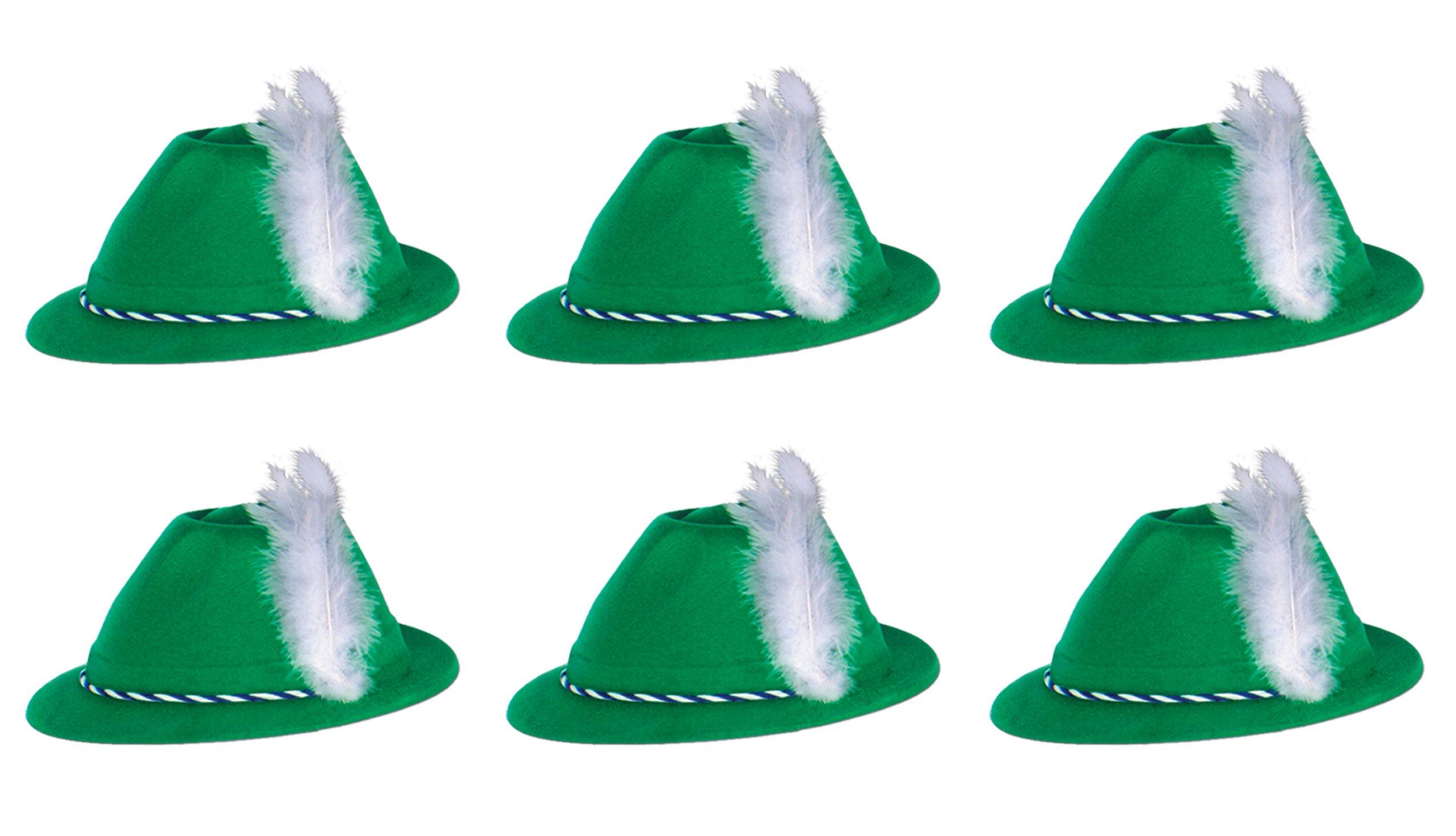 Beistle S66898AZ6 Green Velour Tyrolean Hats 6 Piece, OSFM, Blue/White