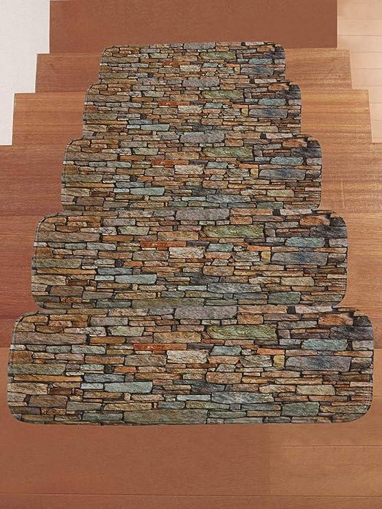 KKJJ Esteras de la Escalera auta-Adhesivo Felpudo Antideslizante Diseño de Piedra Imitacion Moderno Almohadillas de protección del Piso | Durable, Libre de contaminación, Lavable,5pcs: Amazon.es: Hogar