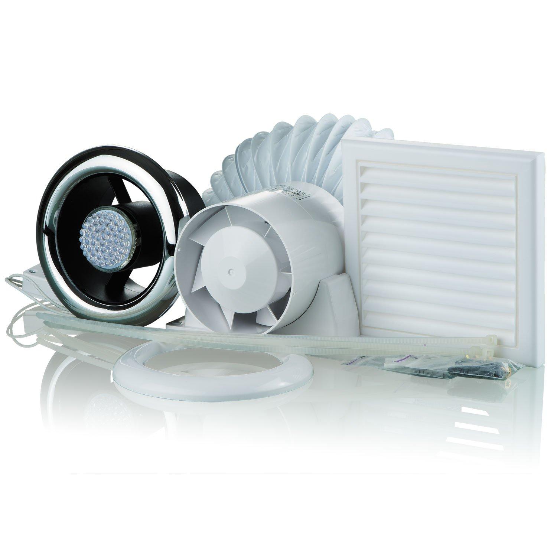 Blauberg UK 100-2-LED Vents VKO-Bathroom Shower Fan Kit 100mm with Timer & LED Light, 16 W, 240 V, Chrome KIT VKO 100-2-LED