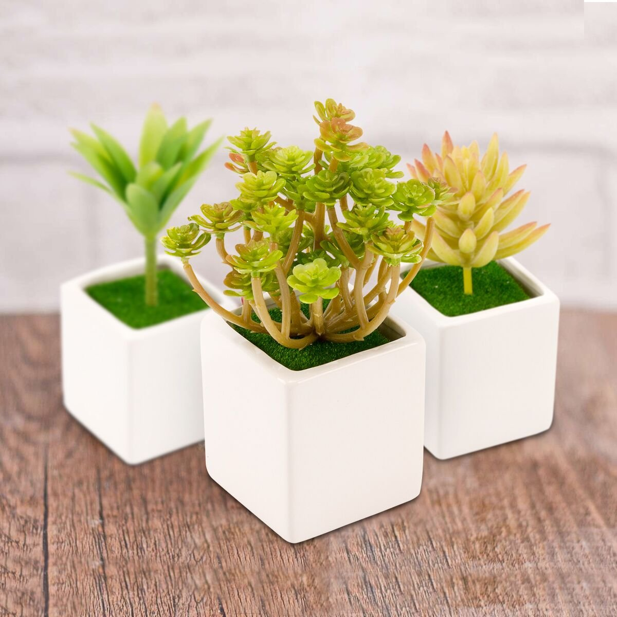 Amazon.com: 8 Pieces Artificial Succulents Assorted Faux Succulent ...
