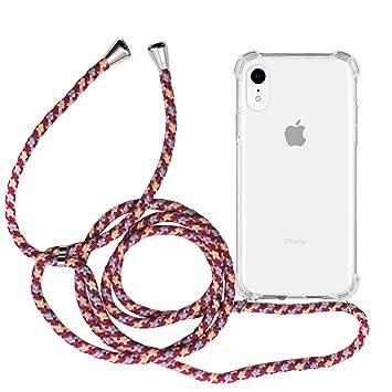 MyGadget Funda Transparente con Cordón para Apple iPhone XR - Carcasa Cuerda y Esquinas Reforzadas en Silicona TPU - Case y Correa
