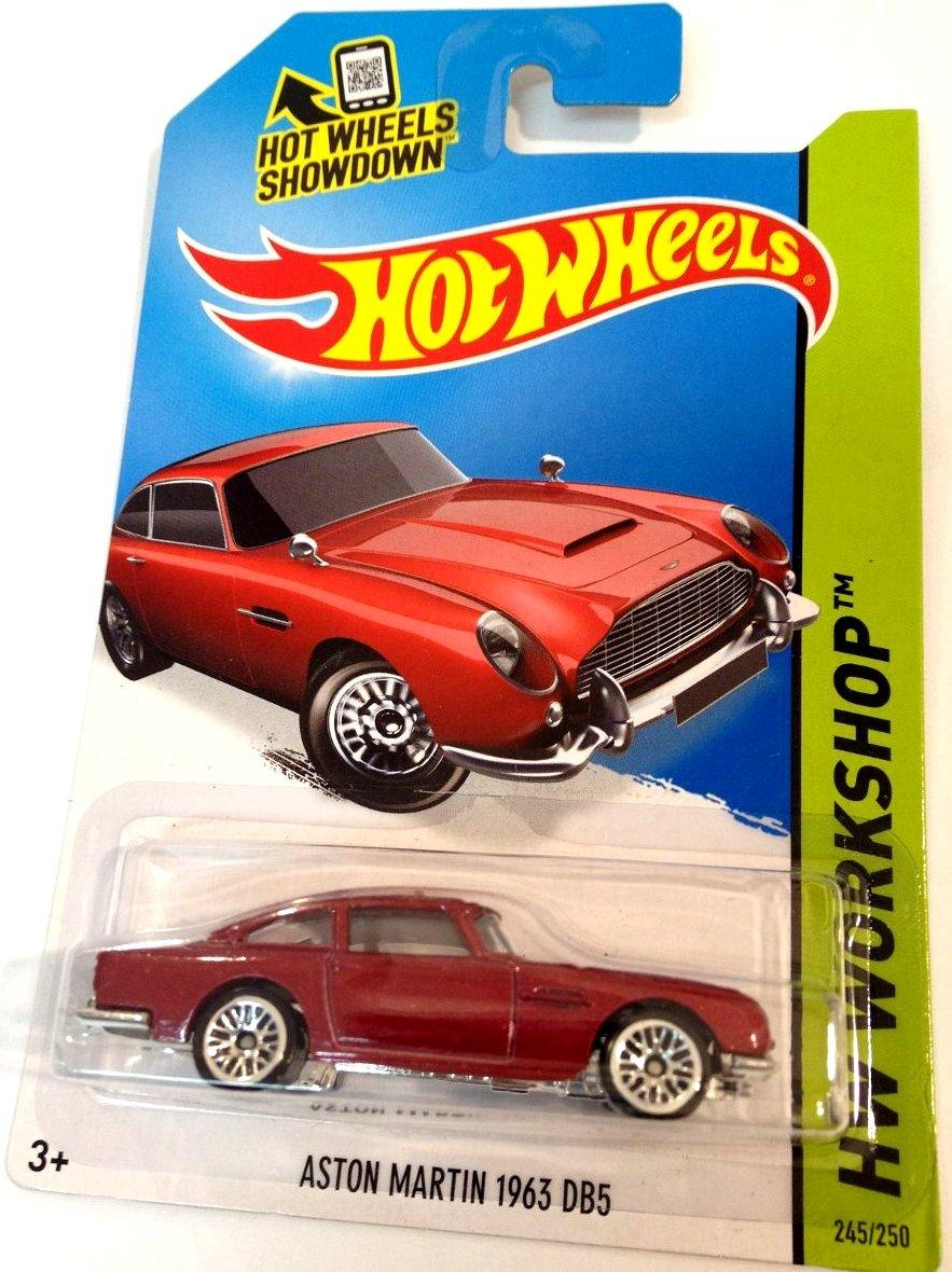 Hot Wheels 2015 Aston Martin 1963 DB5 HW Workshop Red 245/250, Long Card by Mattel