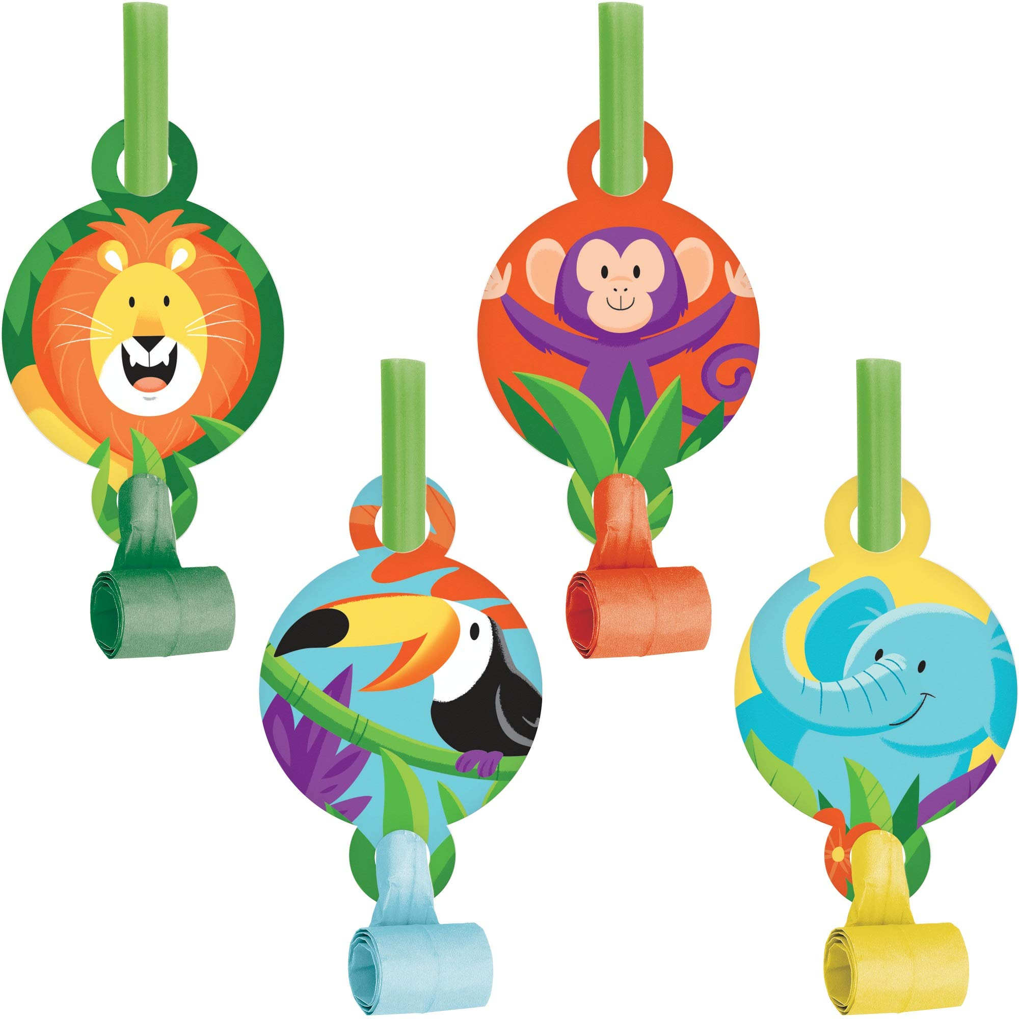 Club Pack of 48 Green and Orange Jungle Themed Blowout Party Noisemakers 5.25'' by Party Central