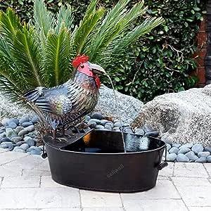 Fountain Yard Art Decor,Fountain Courtyard Art Decoration,Funny Resin Crow Water Fountain Statue,Outdoor Metal Crow Water Fountain Yard Art Decor, for Garden, Patio, Deck, Porch (Cock)