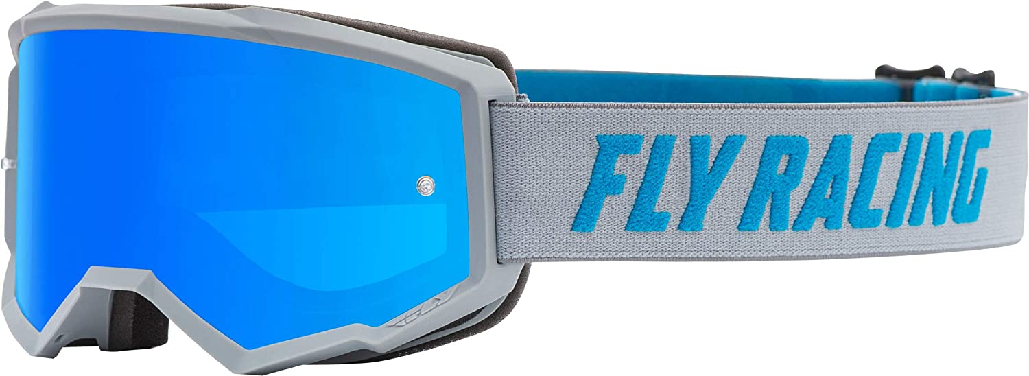 Grey//Blue//Sky Blue Mirror//Smoke//One Size Fly Racing Zone with Post Youth Off-Road Motorcycle Goggles