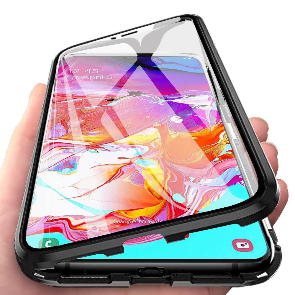 Argent JUNHENG Coque pour Samsung Galaxy A70 Adsorption Magn/étique Tech /étui Antichoc Avant arri/ère Verre tremp/é Design Aimants puissants Cadre int/égr/é Protection /à 360 degr/és M/étal Flip Cover
