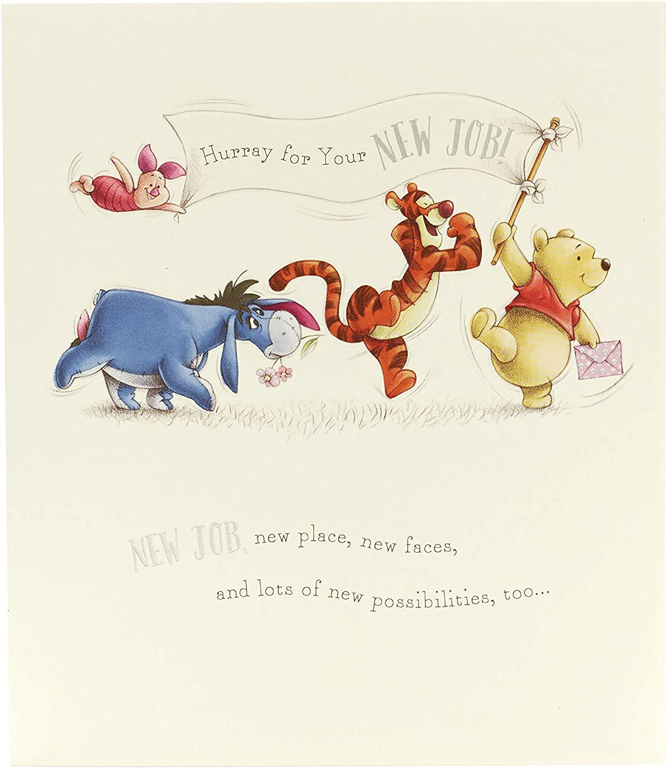 Amazon Com Congratulations New Job Card New Job Card Winnie The Pooh Ideal Gift Card For New Job Disney Office Products
