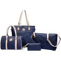مجموعة حقائب توتس كلاسيكية خمس قطع للنساء - ازرق