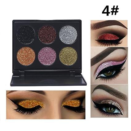 Glitter Polvo Paleta de Maquillaje Profesional, Ruwhere 6 Colores Purpurina Gel Arte de Uñas Decoración