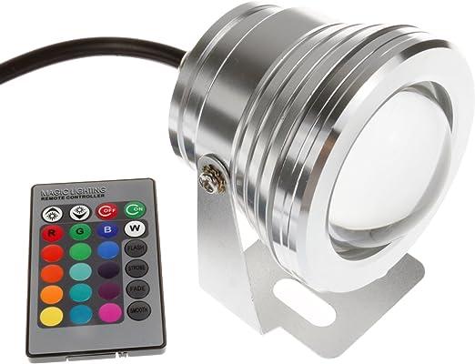 IP65 10W RGB LED Fuente subacu/ática con Control Remoto Proyector Piscina Estanque Pecera Acuario L/ámpara de luz LED DC 12V Winbang Luz subacu/ática