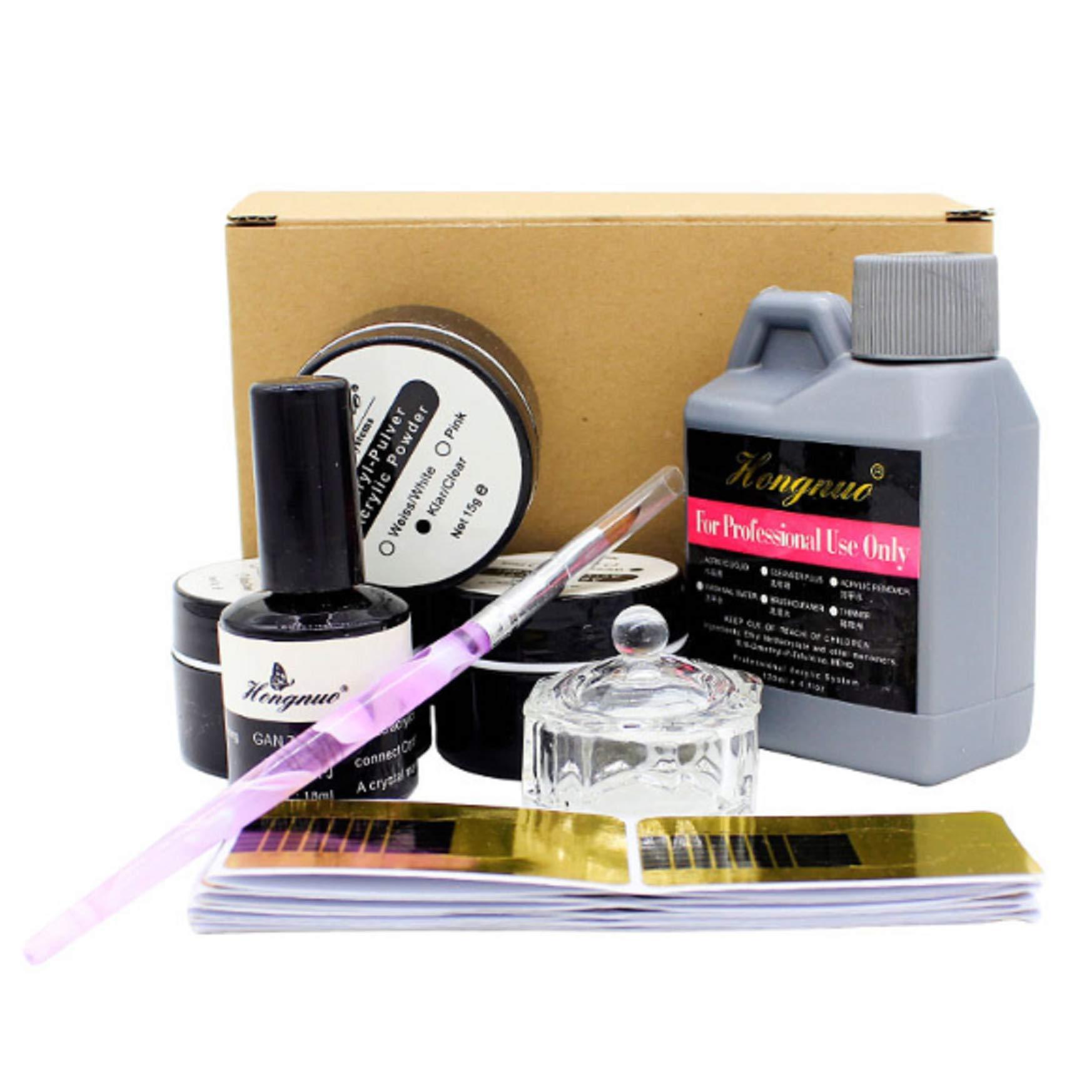 LyDia® Acrylic Nail Kit – Pink, White & Clear Acrylic Powder; Acrylic Liquid; Nail Primer; Nail Brush; Nail Forms and Glass Dish