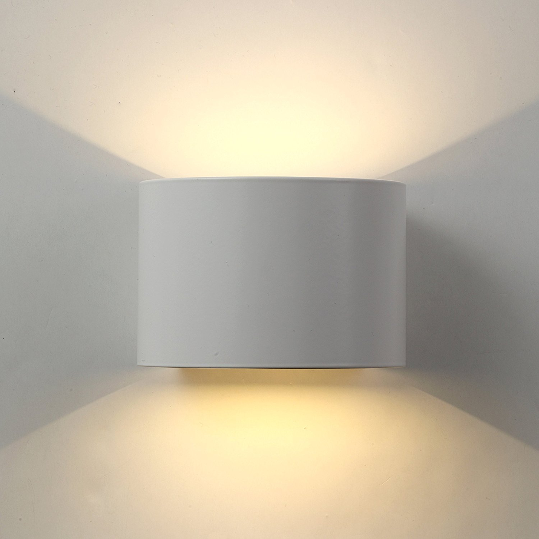 Wandleuchten Led Innen Aussen Modern, Wandlampe mit einstellbar Abstrahlwinkel Design Aussenleuchte Up Down Wandbeleuchtung 3000K Warmweiß (7W Schwarz) [Energieklasse A++] Exwand