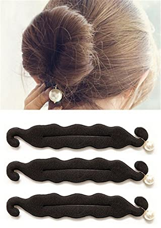 Hakday 3 Pcs Magic Beauty Hair Hairstyle Foam Pearl Sponge Donut Maker Ponytail Bun Maker Twister Black