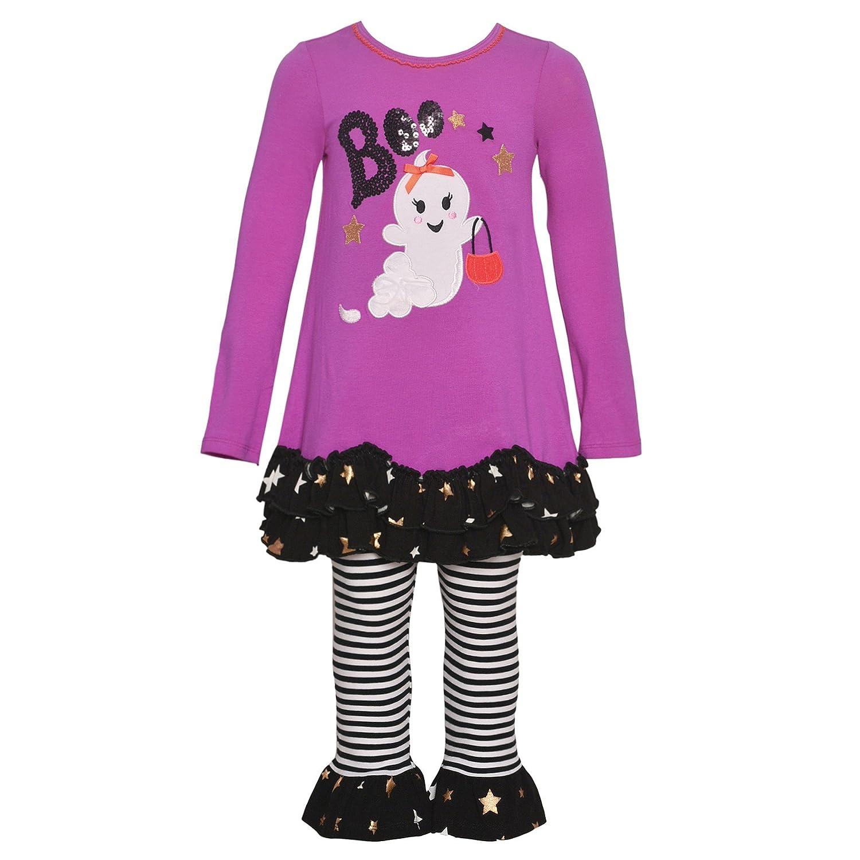 Bonnie Jean Little Girls Fuchsia Boo Ghost Detail Halloween Outfit 2-4T