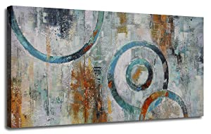 """Canvas Wall Art Prints Abstract Geometry Circle Blocks Grey Brown Painting Picture One Panel Large Size Modern Artwork Framed Ready to Hang for Home and Office Décor 48""""x24"""", Original Design"""