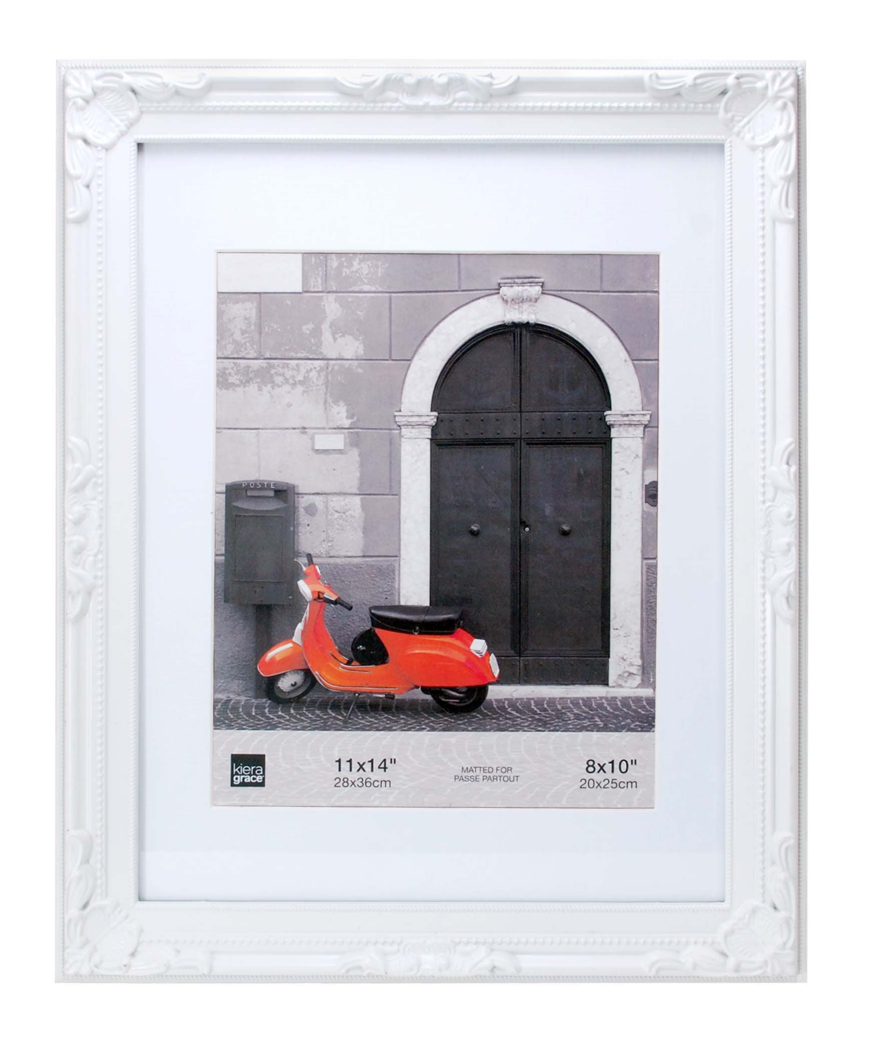 "kieragrace PH43925 Traditional luxury-frames, 11 by 14-Inch, White - HOLDS 8"" X 10"" IN WHITE FRAME – Opening measures 11"" x 14""; you can hold your 8"" by 10"" documents in the acid-free mat. Hold all your memories in beautiful frames. STURDY RESIN CONSTRUCTION – Quality plastic frame provides sturdy, lasting style. Rely on this frame to keep your photos safe and sound, with a handpainted, distressed finish. DISTINCTIVE STYLE - You'll love the compliments you get with Georgia frames. This frame has a ornate, unique patterns and a beaded design along inner border of the frame. Display art and photo prints of friends, family, vacations, and more! - picture-frames, bedroom-decor, bedroom - 71sLcTOi1XL -"