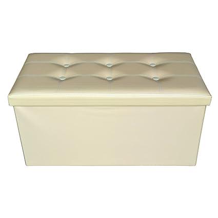 Amazon.com: Rebecca Srl Puff Truhe Sitzbank beige modern Möbel ...