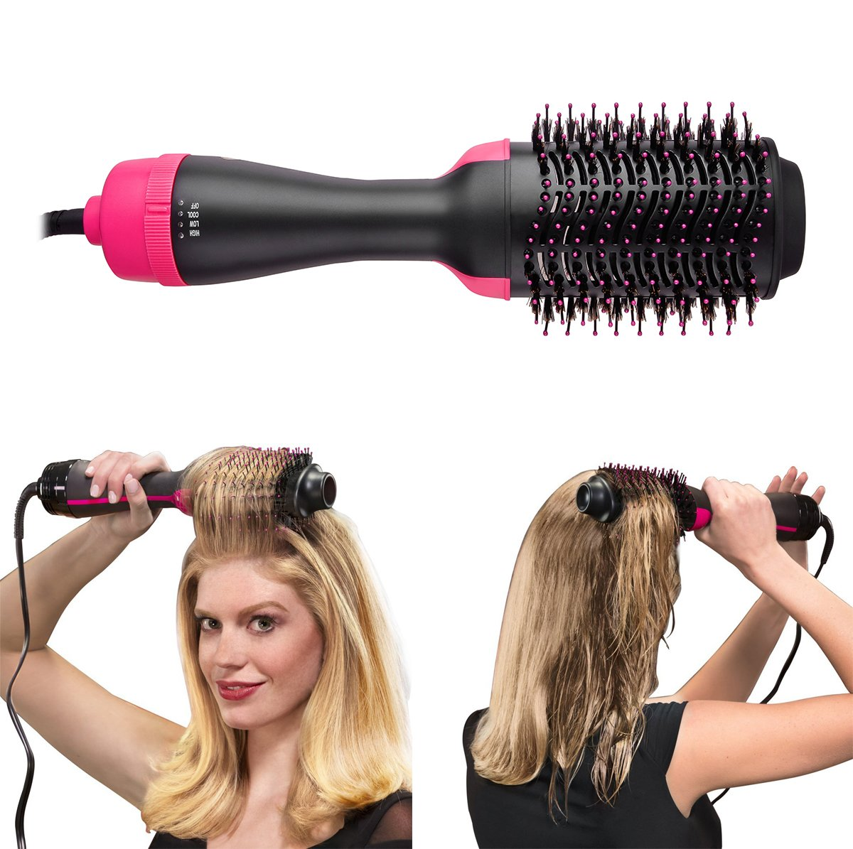 One Step Hair Dryer and Volumizer, szwintec Oval Blower Hair Dryer Salon Hot Air Paddle Styling Brush Negative Ion Generator Hair Straightener Curler Comb for All Hair Types