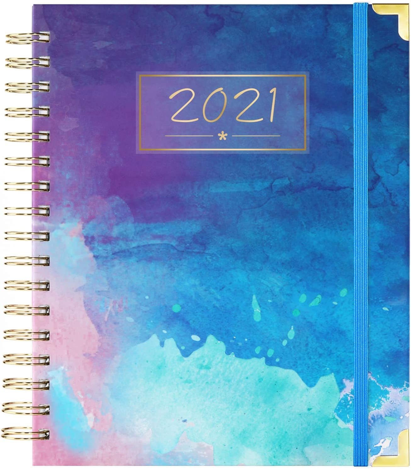 "2021 Planner - Weekly & Monthly Planner 2021, January 2021 - December 2021, Thick Paper with Colorful Tabs - 9.3"" x 8.25"", Twin-Wire Binding with 15 Notes Pages + Two-Sided Inner Pocket + Ruler"