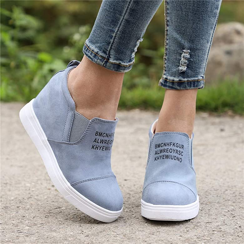 Zapatos Deportivas de Mujer Sneakers Cu/ña Planos Zapatillas Botines Casual Plataforma Piel Tacon Aumentar La Altura Negro Rosado Gris Caqui Azul 35-43