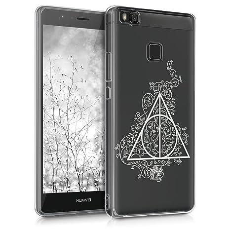 kwmobile Funda para Huawei P9 Lite - Carcasa Protectora de [TPU] con diseño de triángulo mágico en [Blanco/Transparente]