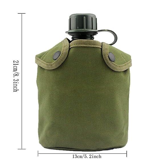 Kit de cantimplora para aire libre, con taza de aluminio y funda, para senderismo y camping, con capacidad para 0,94 litros, de la marca BeGrit
