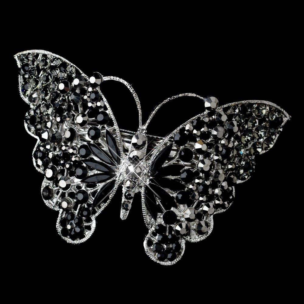 Marlena Silver Black Rhinestone Butterfly Wedding Bridal Barrette - Special Occasion, Prom, Party