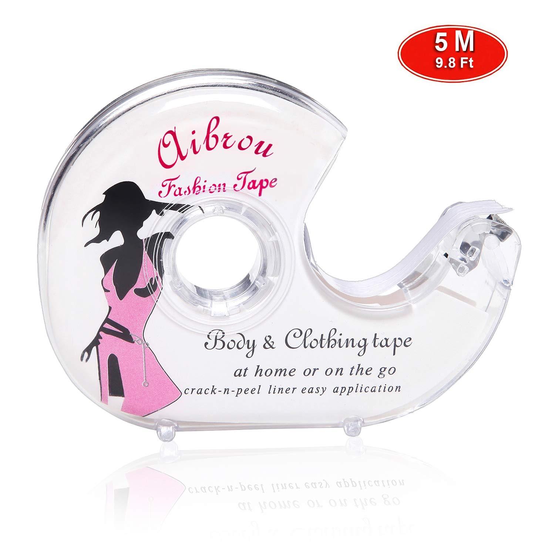 Aibrou Fashion Tape Nastro Biadesivo Invisibile Nastro Adesivo per Reggiseno Donna Profondo V Vestito Abito 3M/5M AM000052_W_M