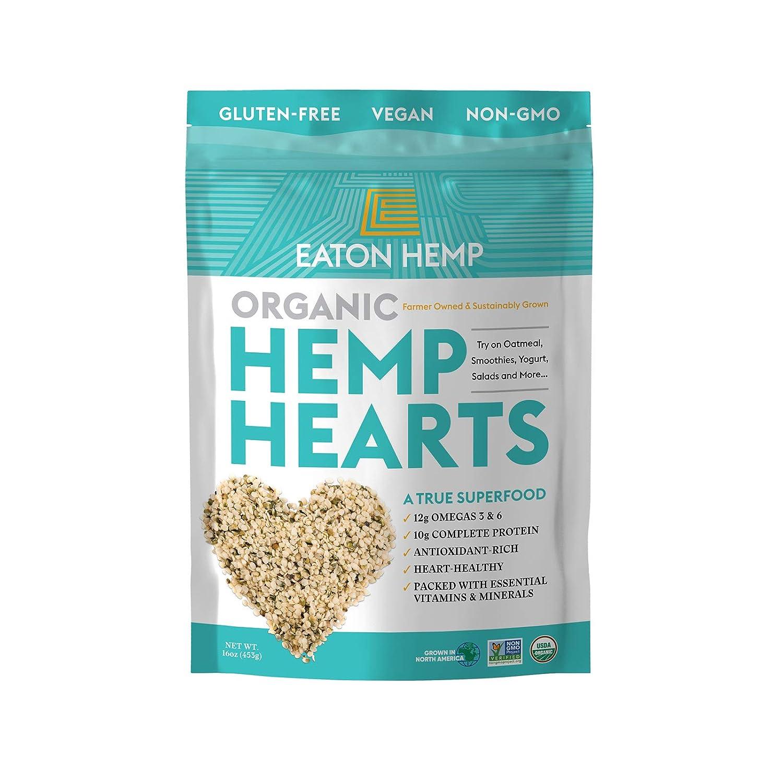 USDA Organic Eaton Hemp Hearts Shelled Hemp Seeds, 16oz, 10g Complete Plant Protein & 12g Omegas per Serving, Vegan, Gluten-Free, Non-GMO, Whole 30 Approved, Paleo & Keto Friendly