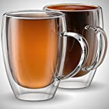 Glass Coffee or Tea Mugs, 12oz or 350ml, Double walled, Set of 2, Insulated, Tea, cappuccino, latte cups