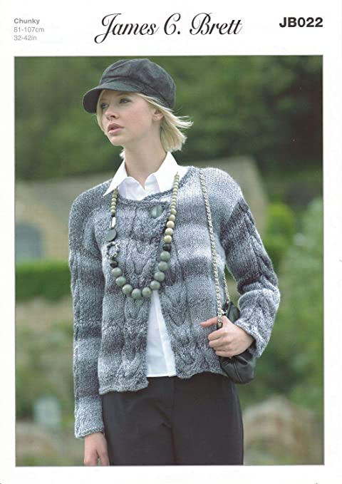 74a74b251 James C Brett Chunky - JB022 Ladies Chunky Cardigan 81-107 cm (32-42 in)  Pattern  Amazon.co.uk  Kitchen   Home