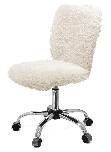 Brilliant Amazon Com Urban Shop Wk655811 Faux Fur Task Chair White Pabps2019 Chair Design Images Pabps2019Com