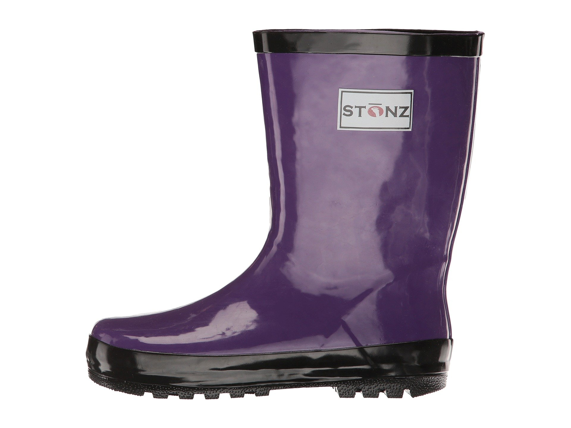 Stonz All-Natural Rubber Rainboot Rain Boots for Toddler Little Big Kid - Waterproof Colorful Warm - Summer Fall Winter - Purple, Size 1Y by Stonz (Image #3)