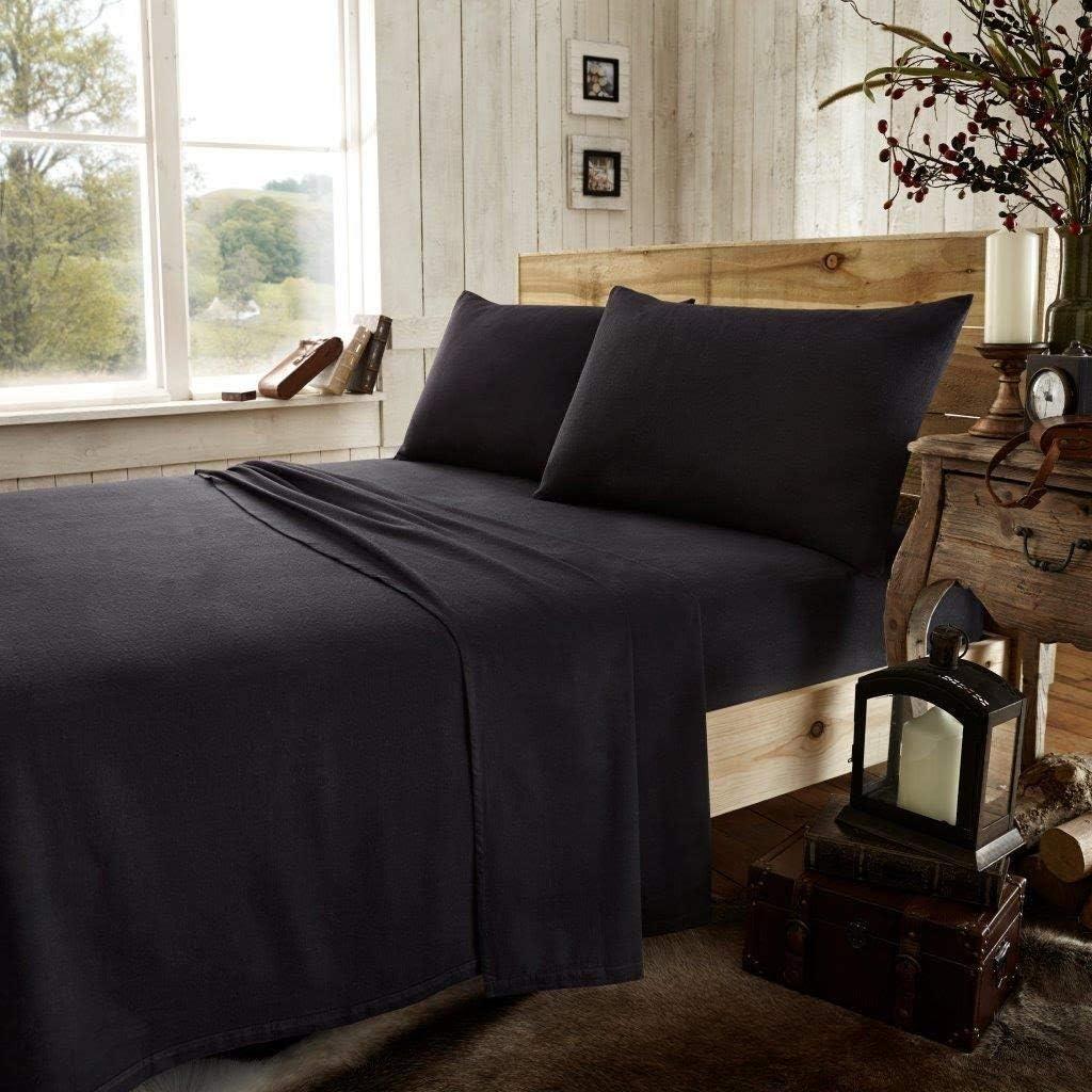 Simple mFabrics Parure de lit en flanelle 100//% coton bross/é pour lit simple Beige//latte. Coton drap plat et taies d/'oreiller assorties double et king size ensemble de drap-housse