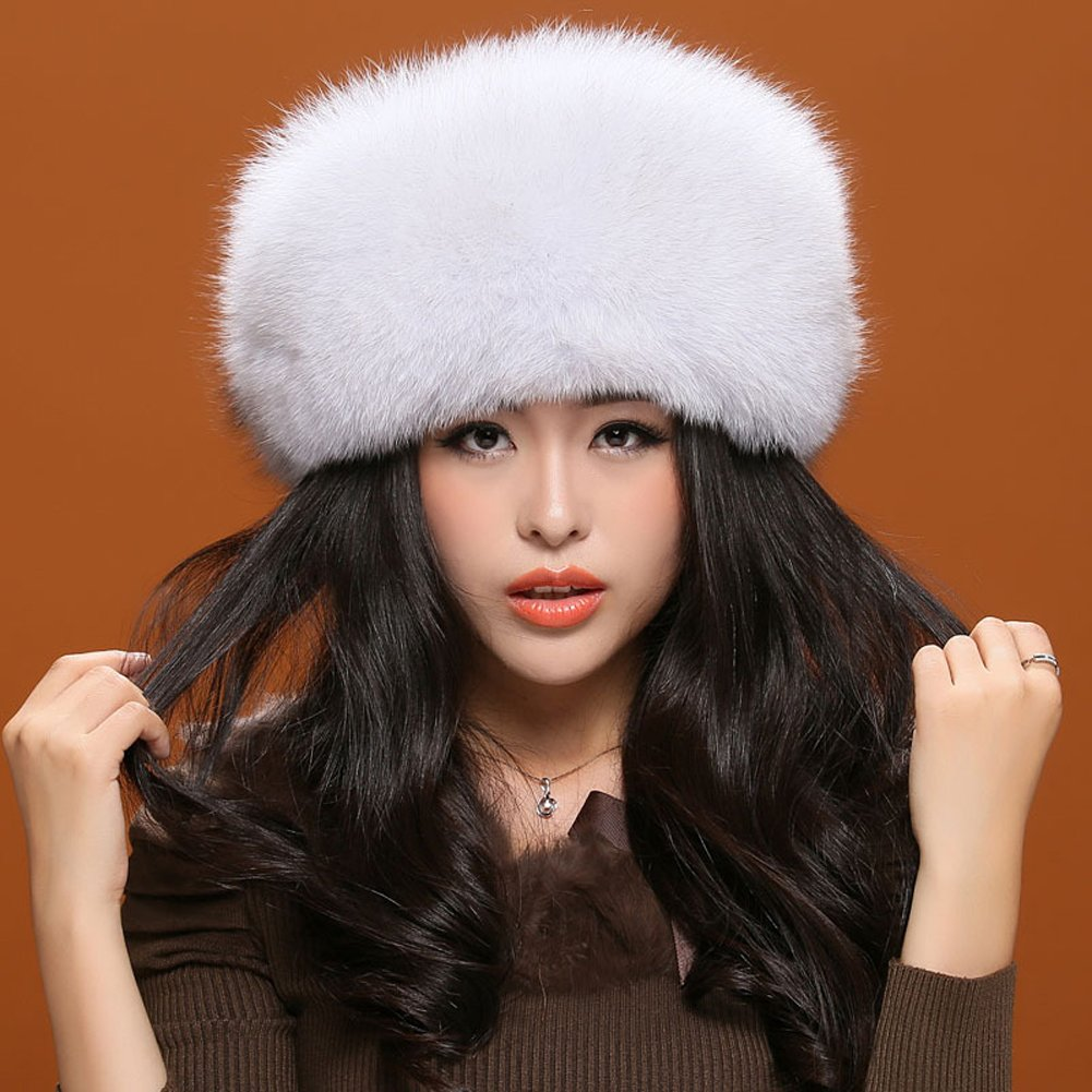 MINGXINTECH womens real fox fur hat hand-made fashion pure color warm winter cap by MINGXINTECH (Image #2)