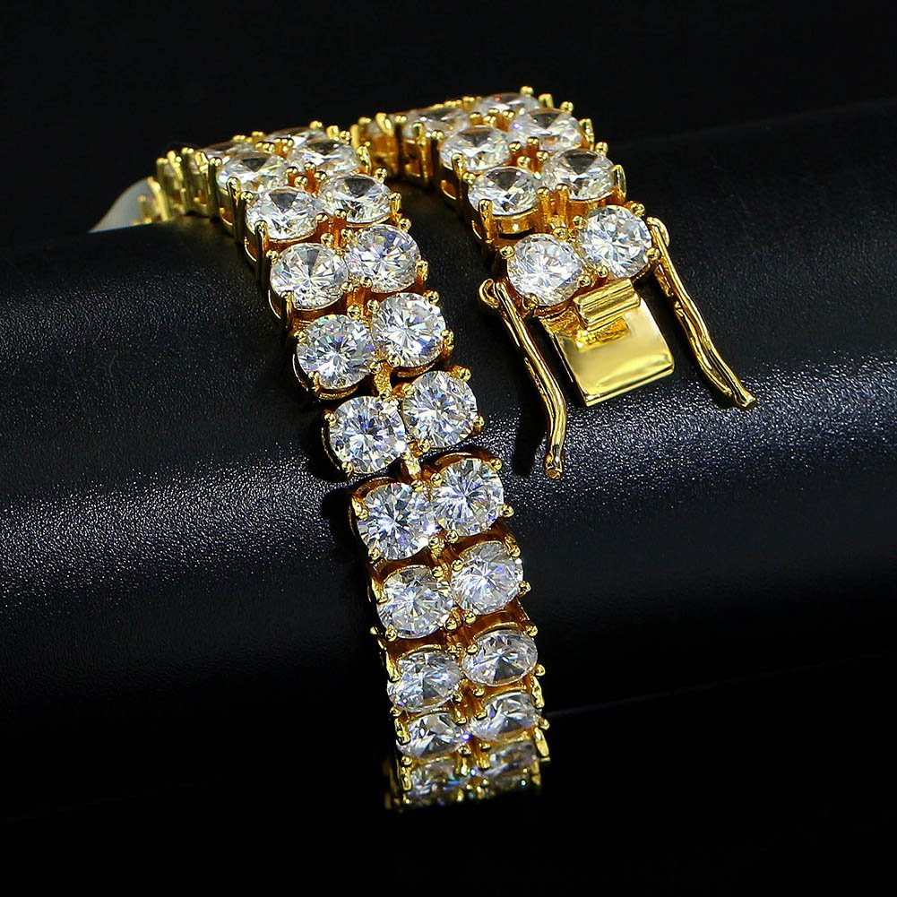 "JINAO 2 Rows AAA Gold Silver Iced Out Tennis Bling Lab Simulated Diamond Bracelet 8"" (Gold) by JINAO (Image #5)"