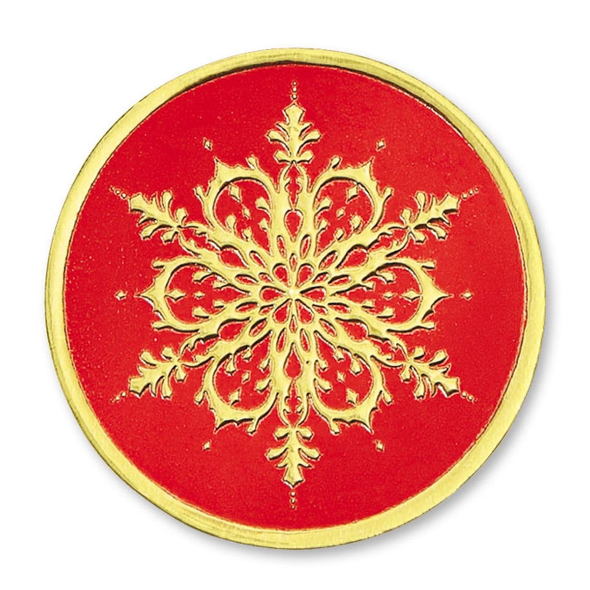 Embossed Elegant Holiday Snowflake Round Gold/Red Foil Seals, 1 ¼ Inches, Self Adhesive, 48 Count
