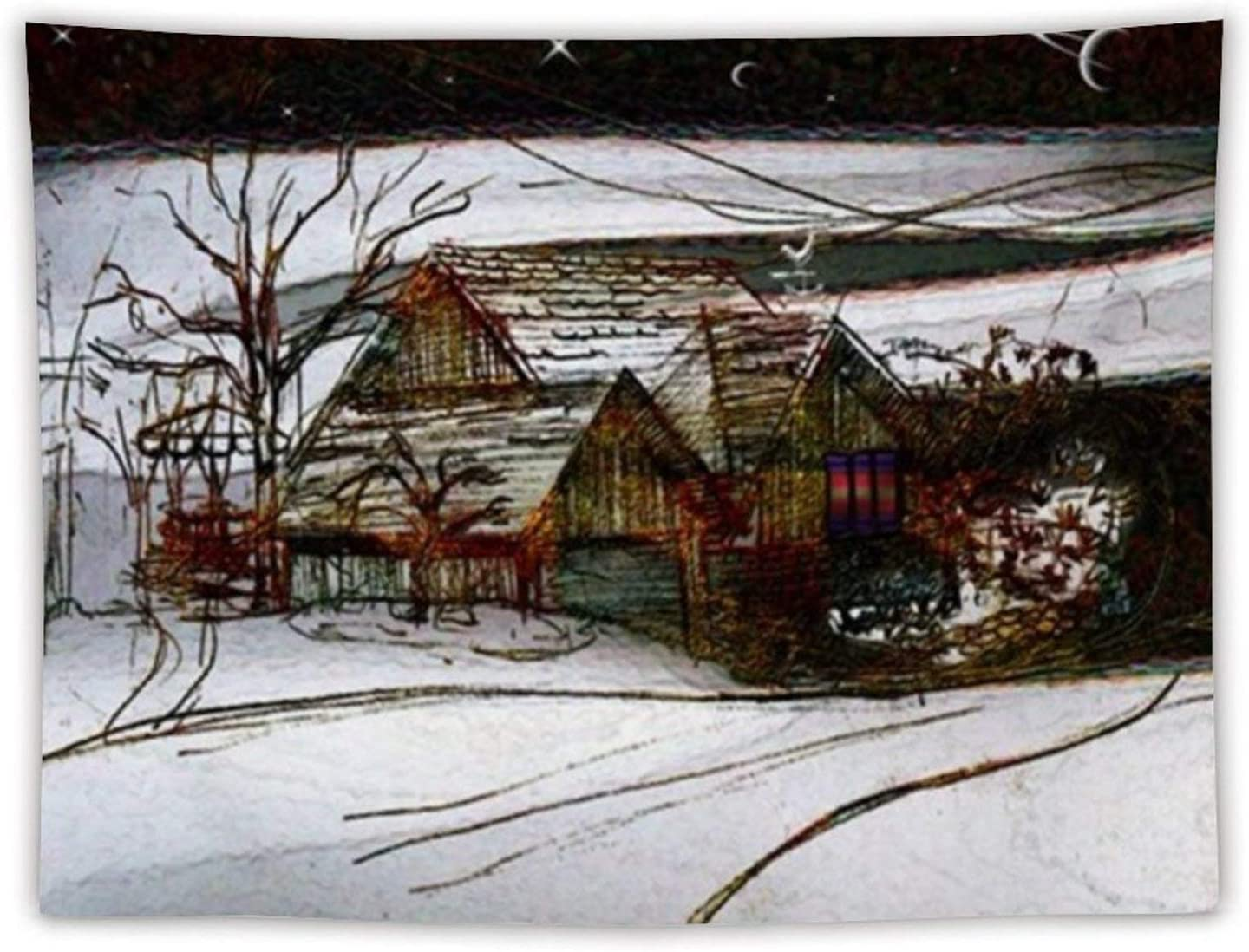 Classic Country Winter Homefront Tapestry Wall Hanging Art Tapestry Wave Tapestries for Bedroom Living Room Home Decoration Home Decor 80x60 inches