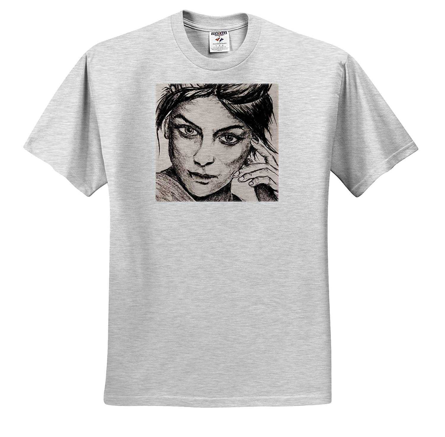 3dRose ChristopherCrouchArt Carcoal Adult T-Shirt XL ts/_309843 Portrait of Girl Charcoal