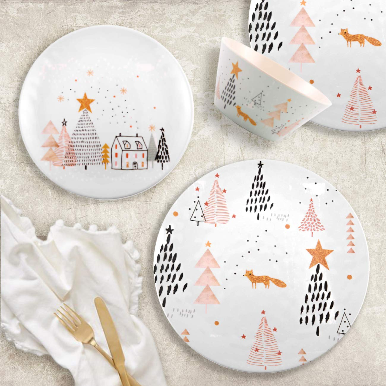 4 Each Melange 608410091580 12-Piece 100/% Dinnerware Set for 4 Christmas Collection-Golden Fox Shatter-Proof and Chip-Resistant Melamine Dinner Plate 10.5 White 10.5 White Salad Plate /& Soup Bowl