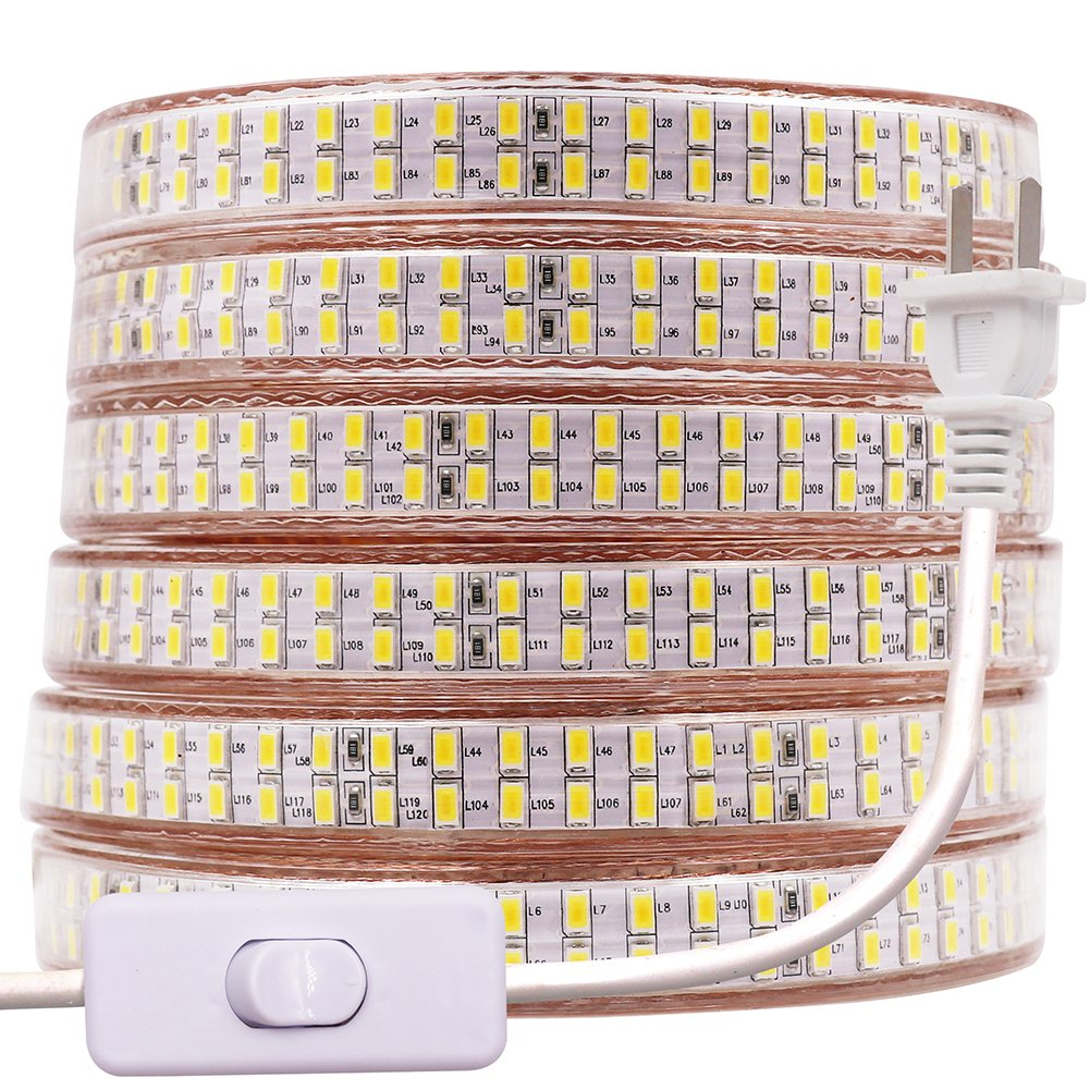 XUNATA 20ft Waterproof LED Strip Rope Light with Power Switch, Super Bright Double Row 1440 Units SMD 5730 (5630 Upgraded) 110V Flexible LED Strip Lights for Home Garden Outdoor Decoration(Warm Whiht)