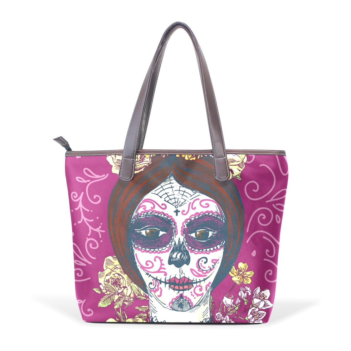 Sugar Skull Dia De Los Muertos Womens Fashion Large Tote Ladies Handbag Shoulder Bag