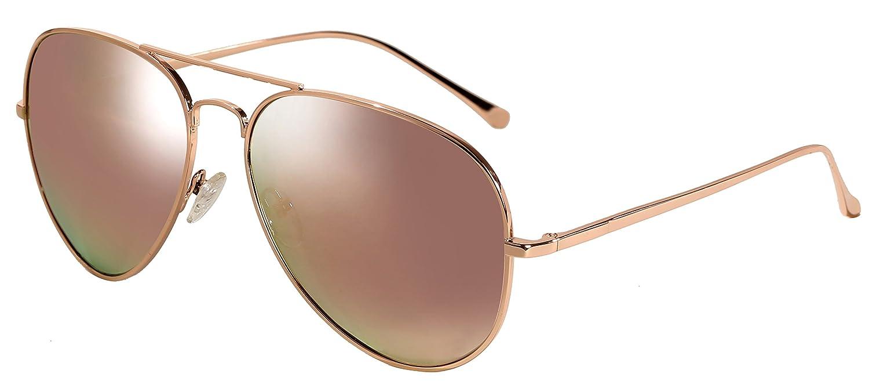 WODISON Metallrahmen polarisierte Reflex verspiegelten Sonnenbrillen für Frauen (Rosa) vf23hzlVxz
