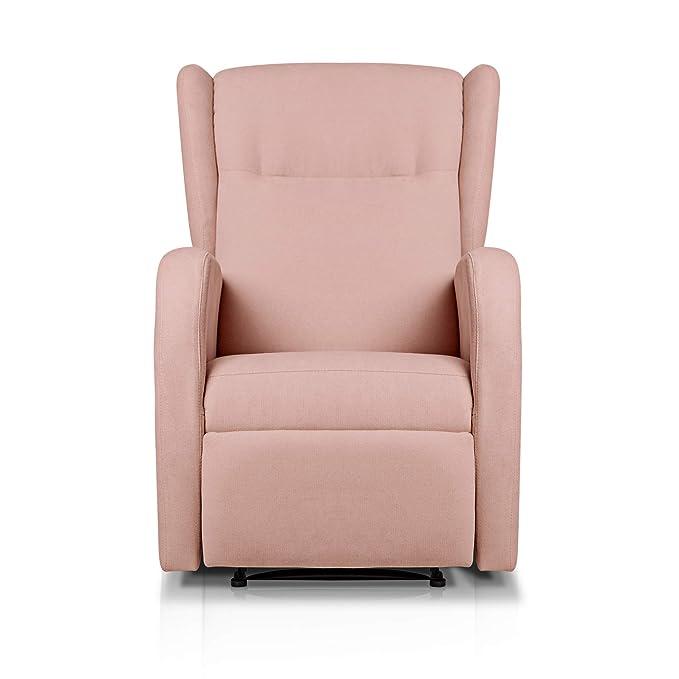 Sueños ZZZ | Sillon relax reclinable HOME tapizado tela antimanchas salmon | Sillon reclinable butaca relax | Sillon orejero individual salon | Butaca ...