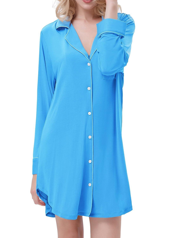 Zexxxy Women's Nightshirt Long Sleeve Pyjama Top Lapel Sleep Shirt Dress