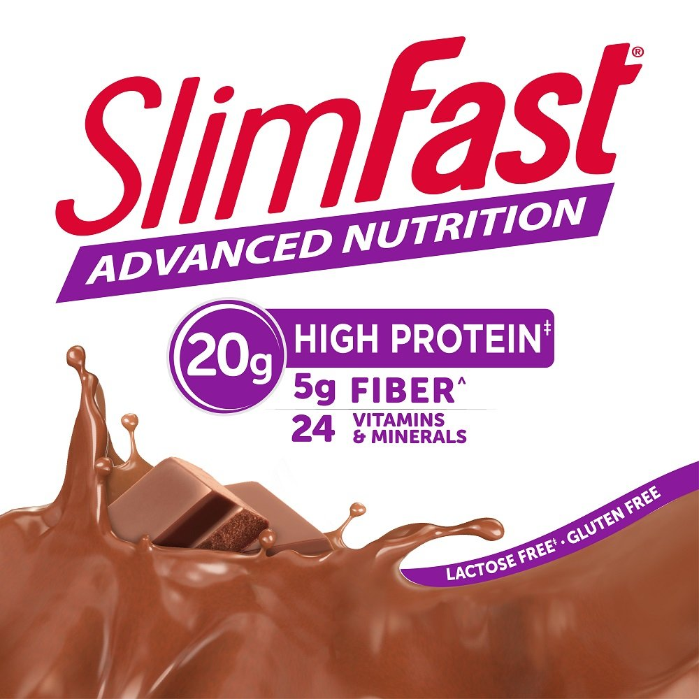 SlimFast Advanced Nutrition Creamy Chocolate Smoothie Mix Weight Loss Meal Replacement 20g of protein 11.01 oz. Canister 12 servings Pack of 2