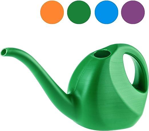 KADAX - Regadera de 2 litros, pequeña jarra de jardín de plástico, con salida larga, para interior y exterior, hogar, jardín, flores, plantas, riego (verde): Amazon.es: Jardín
