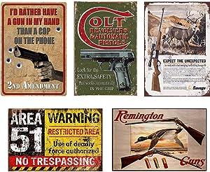 FlowerBeads Metal Gun Tin Signs Metal Box Sign Yard House Home Decor Garage Shop Office Man Cave Decor Poster - 5PCS 20X30Cm